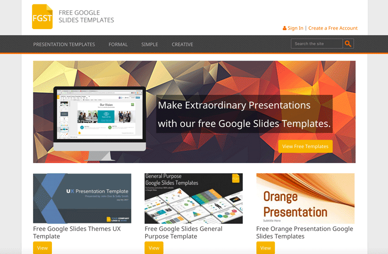 Homepage of Free Google Slides Templates