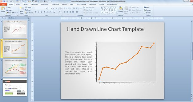 free Hand Drawn Line Chart Template for PowerPoint