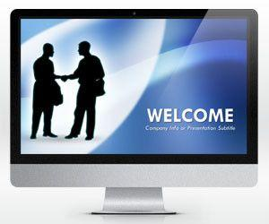 Widescreen Negotiation Blue PowerPoint Template (16:9)
