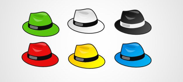 six hats icons free shapes for PowerPoint