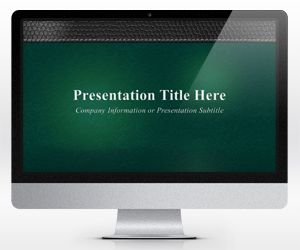 Widescreen Executive Leather PowerPoint Template Green (16:9)