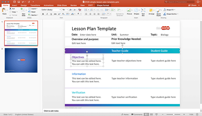Free Lesson Plan Template