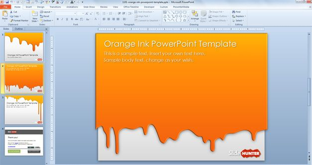 free orange ink powerpoint template