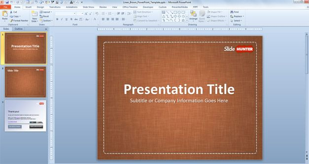 Free Linen PowerPoint Designs for Presentations with Brown background color