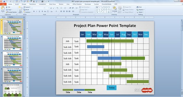 Free Project Planning PowerPoint template with Gantt Chart