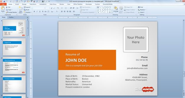 Free Resume PowerPoint template comes with different color schemes ...