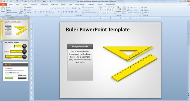 free ruler powerpoint with squad 3D