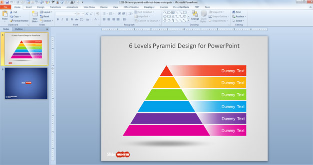 Free six level pyramid diagram design for PowerPoint with colors