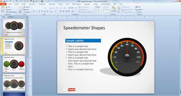 Dashboard graphics for PowerPoint presentations
