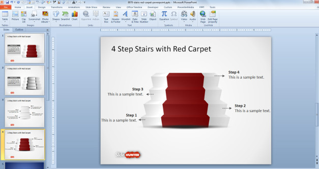 Stairs diagram for PowerPoint with red carpet