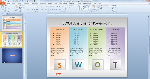 Free SWOT PowerPoint Template for presentations
