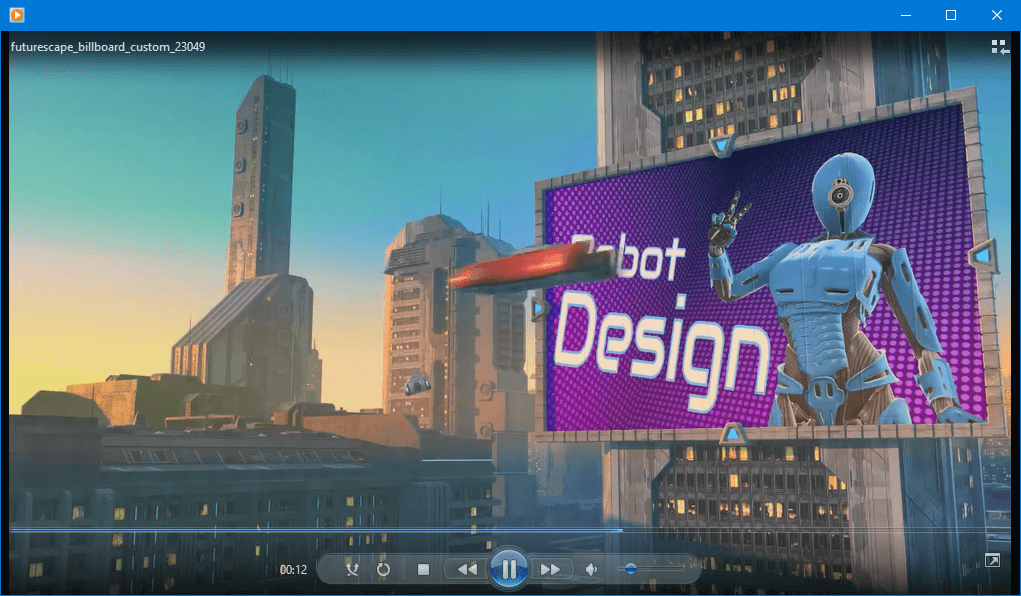 futurescape video with custom text