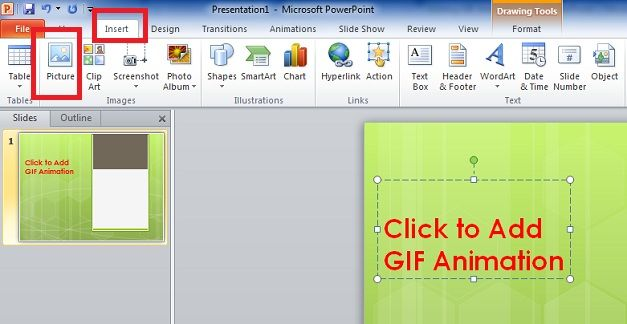 Add a GIF animation in Microsoft PowerPoint presentation
