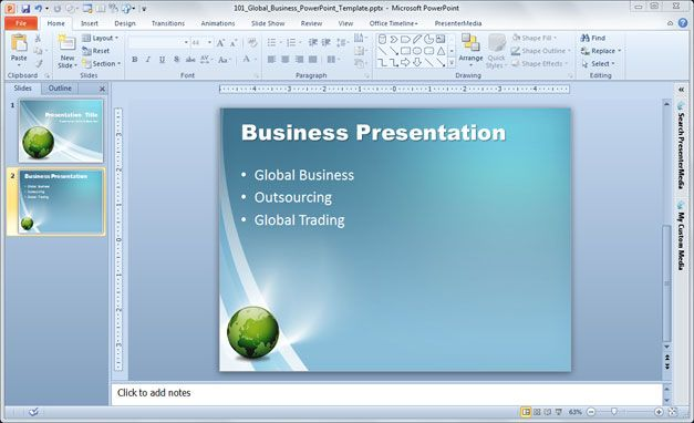 free business PowerPoint template for global business