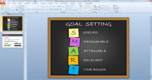 Free Goal Setting PowerPoint Template with Sticky Notes