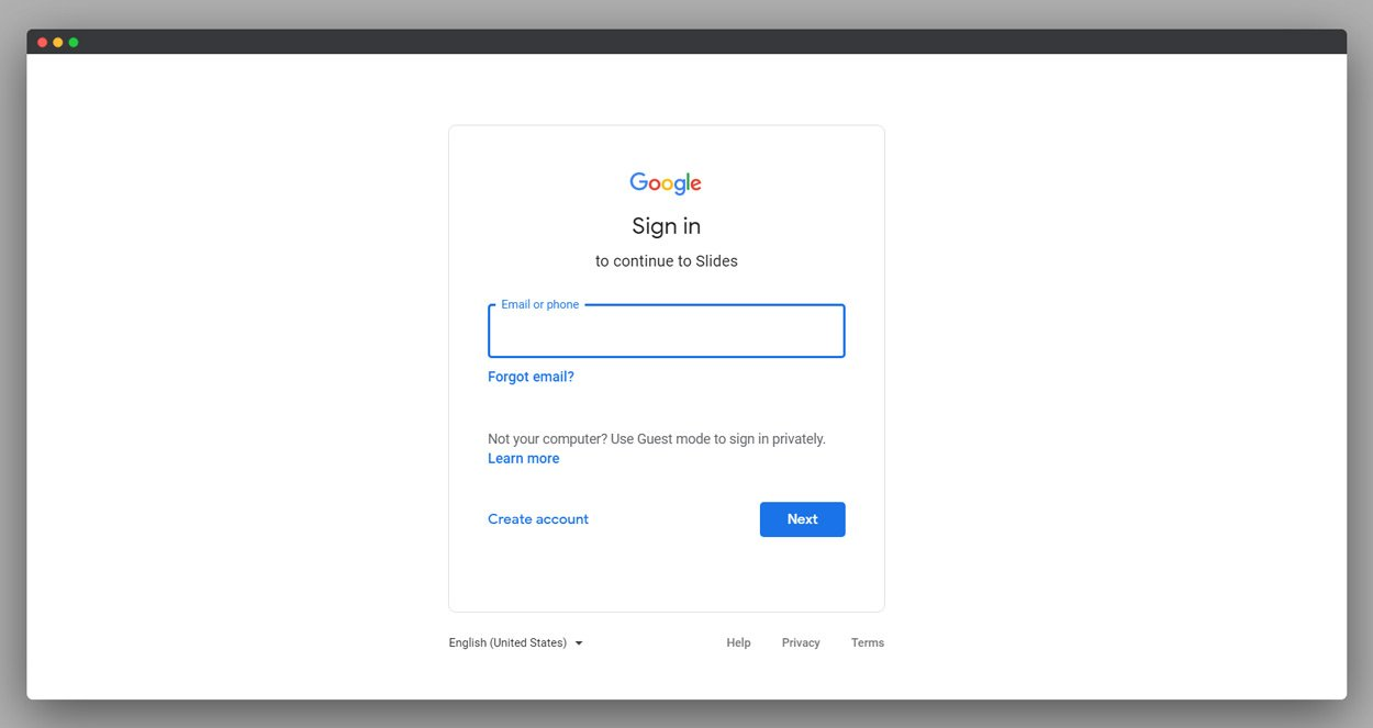 Google Slides Login screenshot