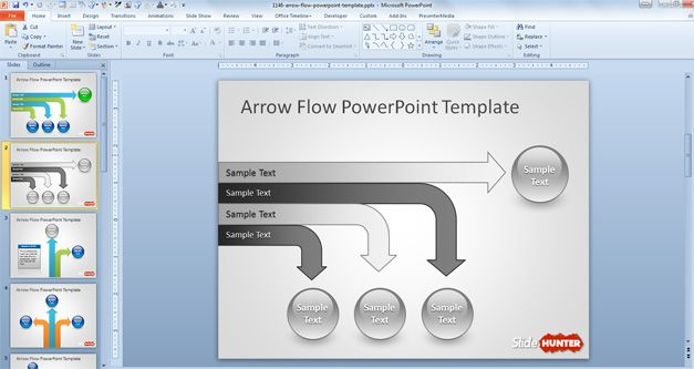Horizontal Arrow Flow Chart Design PowerPoint Template with spheres and gray tones