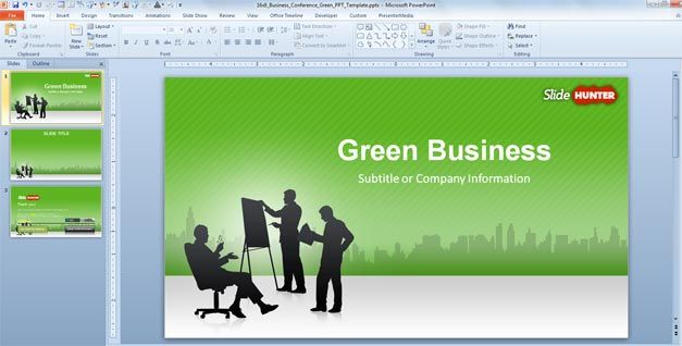 Free Business Powerpoint Template Green 16 9 Free