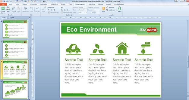 green icons free powerpoint template