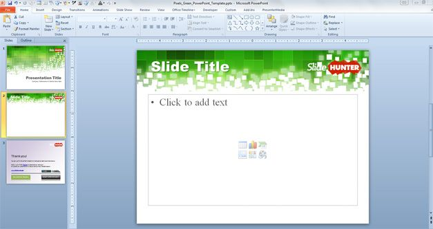 Free Pixels Green PowerPoint Template
