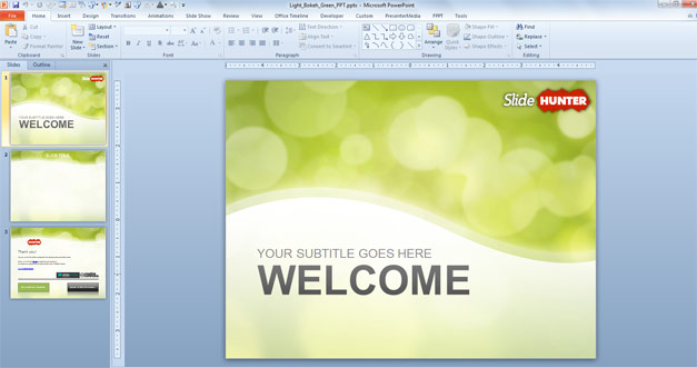 Free Green Bokeh Powerpoint Template Free Powerpoint