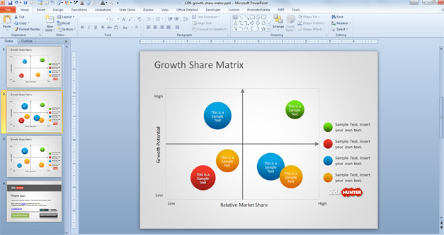 Creative Growth Share Matrix for PowerPoint based on the Boston Matrix slide design