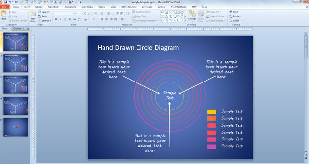 Editable Hand Drawn Circles Diagram with color legend for PowerPoint
