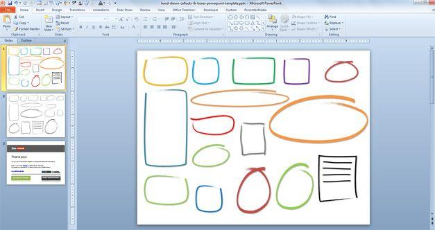 gráficos de PowerPoint con efecto de dibujo a mano