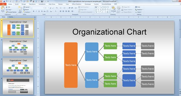 Horizontal Organizational Chart Template for Microsoft PowerPoint