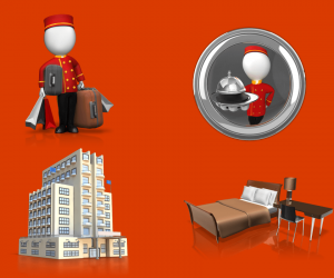 Bellhop And Hotel Clipart for PowerPoint