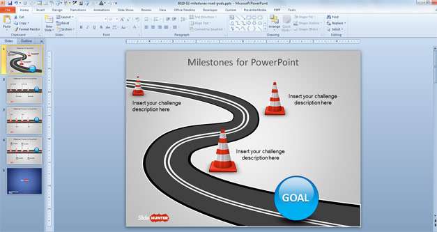 Hurdles in Road with Milestones Timeline template