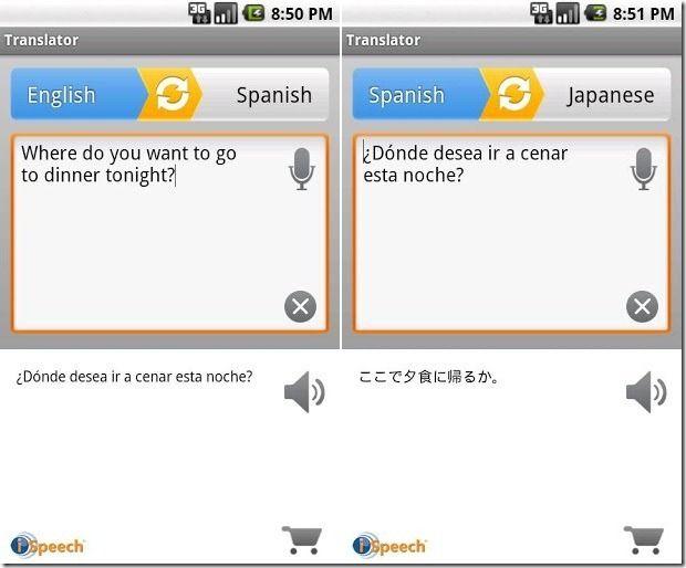 iSpeech translator for iPhone