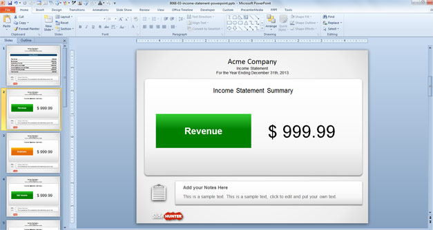 Income Statement Template for PowerPoint - Revenue Slide Design