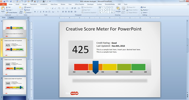 Creative Score Meter Template for PowerPoint