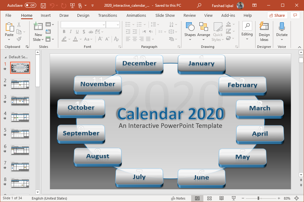 interactive 2020 calendar for powerpoint