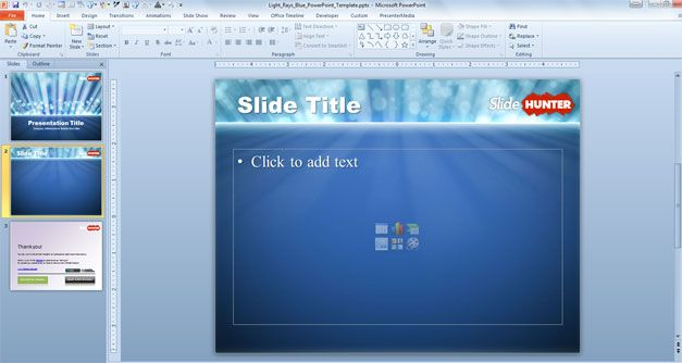 Free Light Rays PowerPoint Template