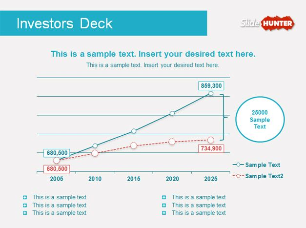 Free investor deck PowerPoint template and slide design with line chart example