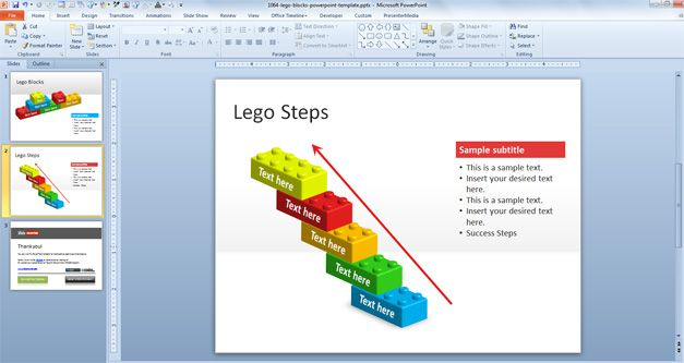 Free building PowerPoint template with lego block shapes is a 3D lego ...