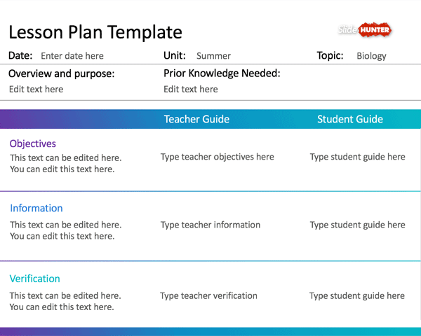 Simple Lesson Plan Template for PowerPoint