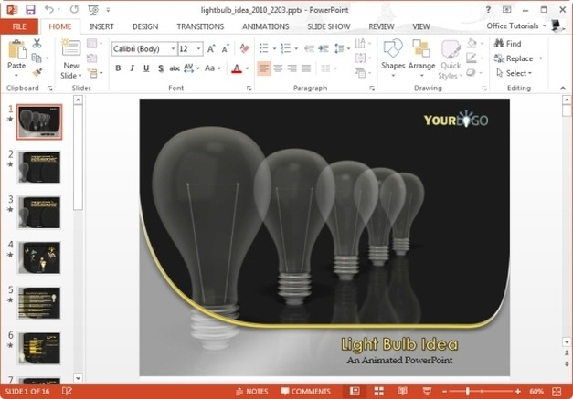 light bulb idea template for powerpoint