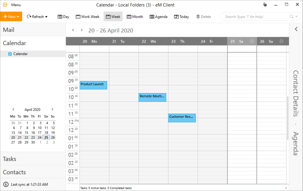 manage calendars and tasks in em client