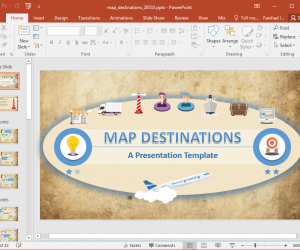 Animated Map Destinations PowerPoint Template