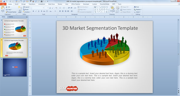 3D Market Segmentation PowerPoint Template