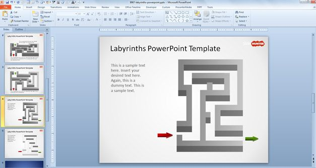 Free Maze PowerPoint Template with vertical layout
