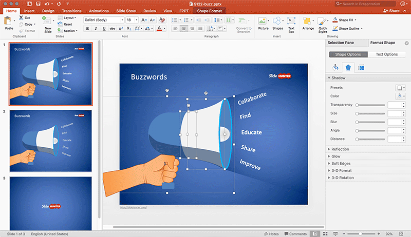 Example of Buzzword Slide in PowerPoint with editable Megaphone