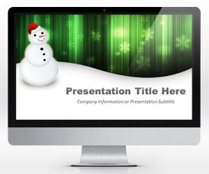 Widescreen Merry Christmas Snowman Powerpoint Template