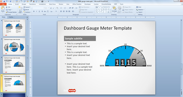 Meter Gauge slide design for PowerPoint dashboards using a cyan light color