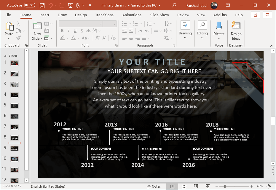 military timeline slide