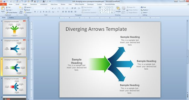 branching arrows powerpoint diagram