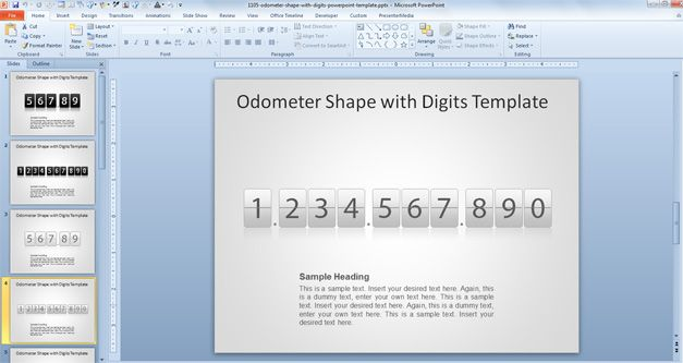 free Odometer Shape with Digits PowerPoint Template